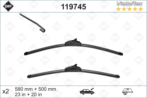 Flatblade set 580 + 500 mm