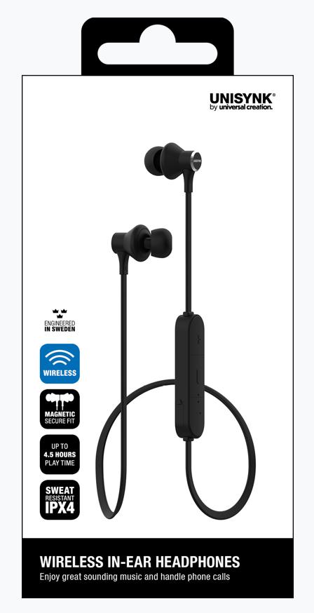 Bluetooth in-ear hörlur svart