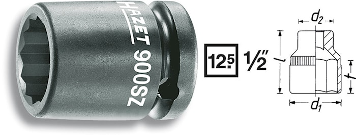 Krafthylsa 12 kant 30mm