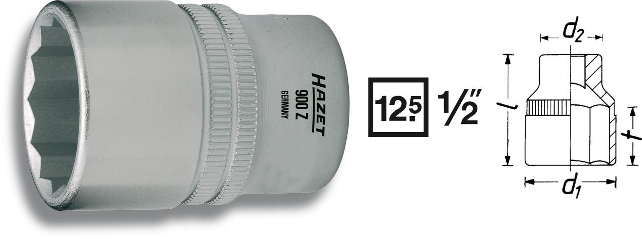 """Hylsa 1/2"""" 12-kant 12mm"""