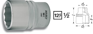 """Hylsa 1/2"""" 12-kant 10mm"""