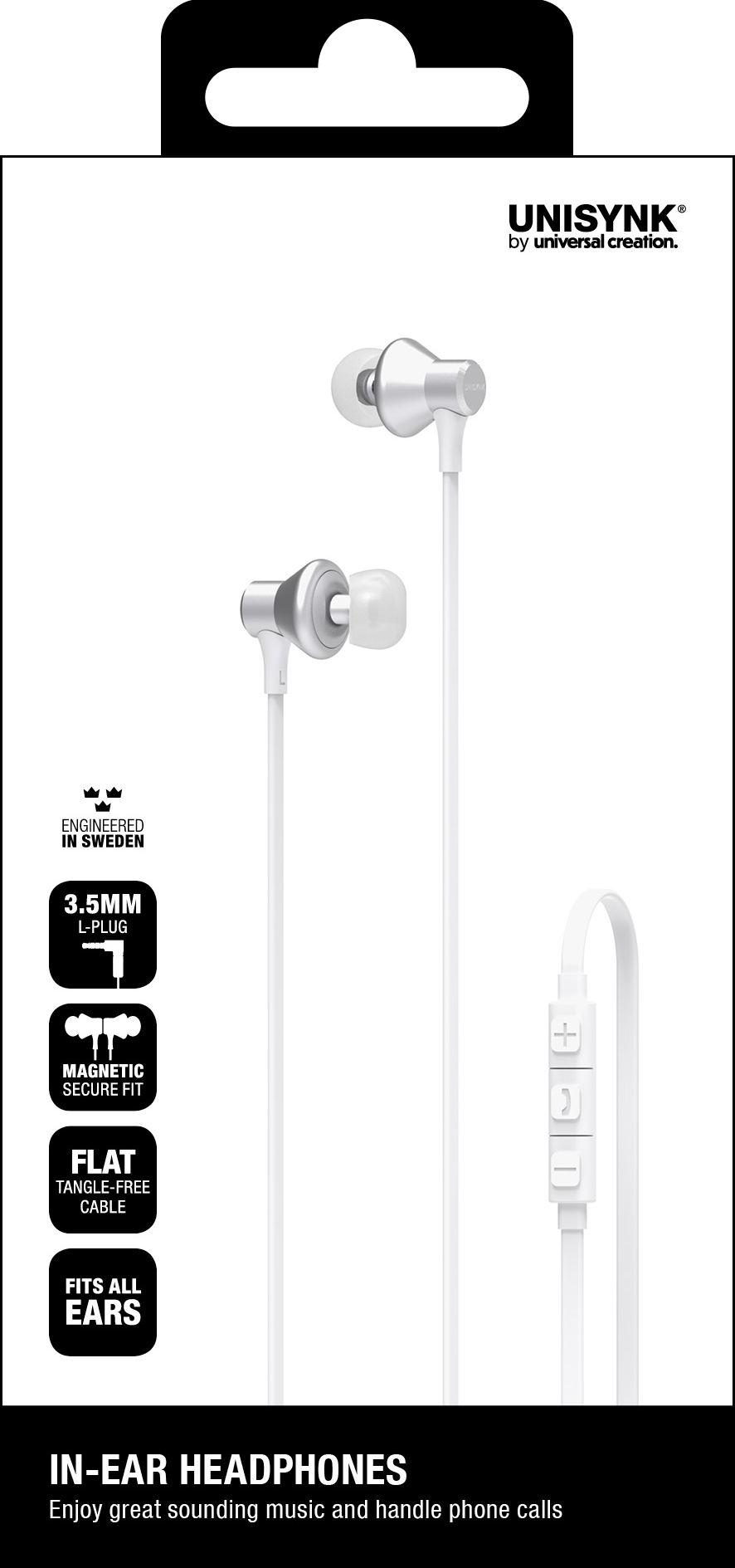 Unisynk in-ear hörlur vita