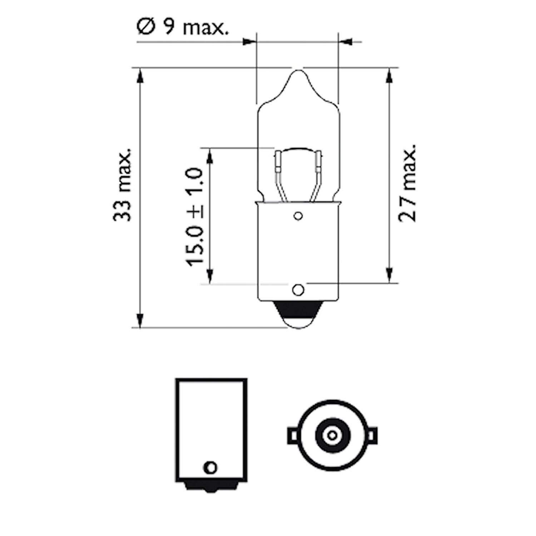 Halogenglödlampa 12V 10W BA9s