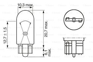 Glödlampa W5W 12V 2,1x9,5d ECO
