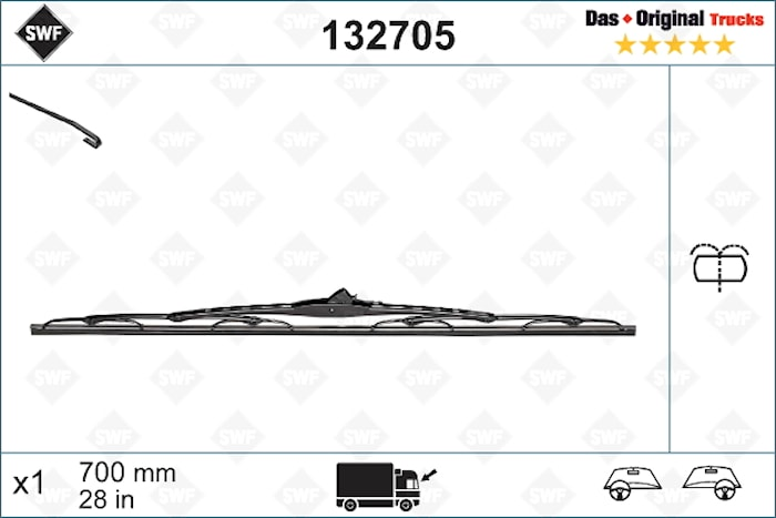 Torkarblad 700mm m Spolning