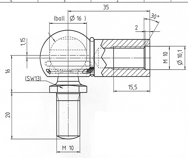 Vinkelled 16mm kula, M10, L=35