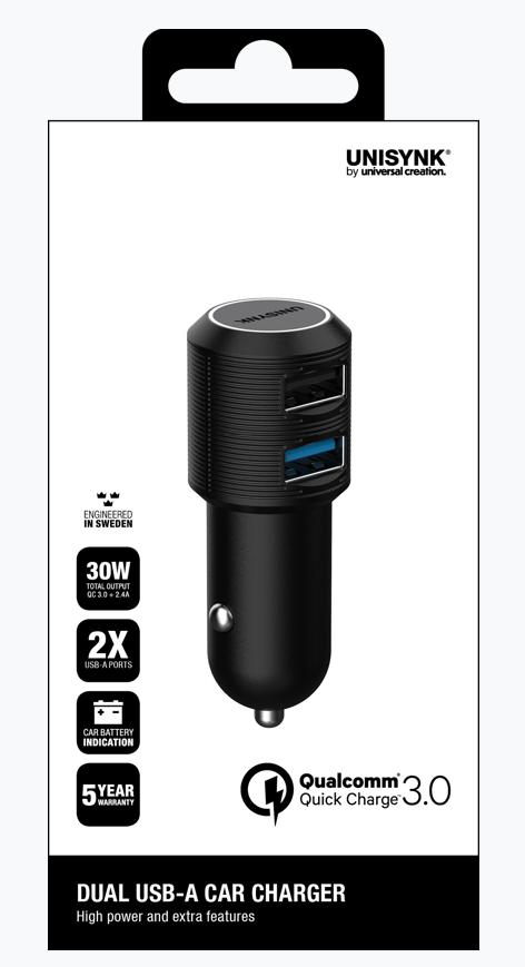 USB laddare QC3 + 2,4A, 12-24V