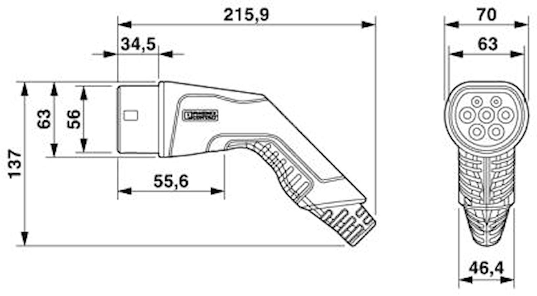Laddkabel typ2, 32a, 1ac, 10m