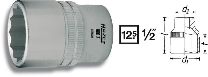 """Hylsa 1/2"""" 12-kant 36mm"""