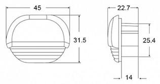 Stegbelysn 8-28V LED vit 45x32