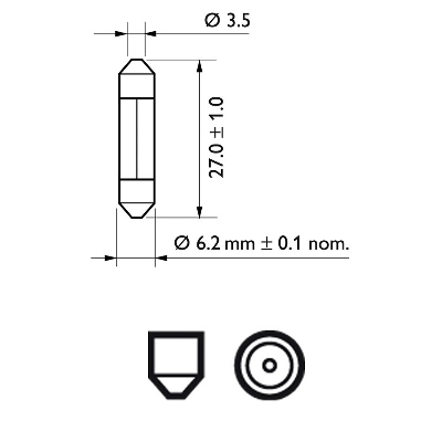 Glödlampa 12V 3W SV6