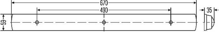 Lysrörsarmatur 24V 13W 668x59