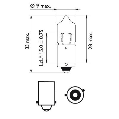 Halogenglödlampa 12V 6W BAX9s