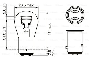 Glödlampa P21/4W 12V BAZ15dECO