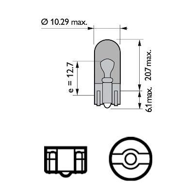 Glödlampa 12V 5W W2,1x9,5d gul